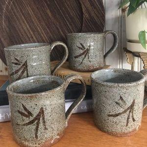4 handmade ceramic mugs